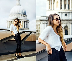 Jessica Sheppard - Jeepers Peepers Cat Eye Sunglasses, Topshop Cropped Casual Blouse, Asos Cropped Trousers, Linzi Loafers - THE TRUTH ABOUT GRADUATING.