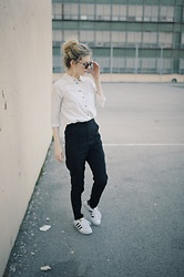 Maria L - Zara White Blouse, Asos High Waisted Black Pants, Adidas Superstars - YOU AIN'T GOTTA LIKE IT