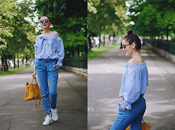 Andreea Birsan - Christian Dior So Real Sunglasses, Mango Denim Pants, Adidas Stan Smith Sneakers, Hermès Yellow Kelly, Sheinside Striped Off Shoulder Top - Summer outfit idea for those that hate shorts