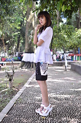 Sonya Ann Kovaleswani - Berrybenka White Peplum Top, Romwe Abstract Skirt, Jeffrey Campbell Shoes Tamera Heels - Through Time