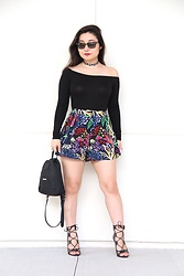 Kristen Tanabe - Ten Sixty Sherman Black Bodysuit, Topshop 'Matisse' Floral Shorts, Bcbg Lace Up Heels, Forever 21 Choker, Ray Ban Ray Ban Sunnies - Artsy and Abstract