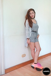 Airish Abella - Forever 21 Gray Cardigan, Forever 21 Denim Romper, Nike Airmax Torch 4, Mimazuki Momoko Cat Necklace - Shades of Gray