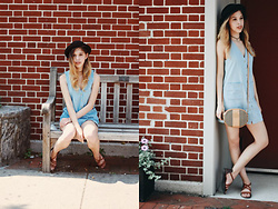 Karina C. - Brandy Melville Usa Denim Dress, Fendi Stipped Cross Body, Forever 21 Choker, H&M Bowler Hat - Brick Walls and Benches