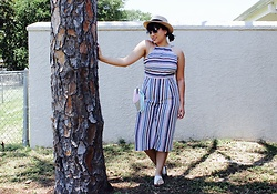 Chelsea Paulett - Posh Square Strip Culotte Jumpsuit - Cute for the Summer