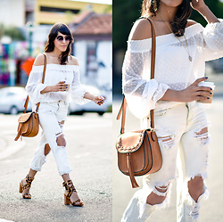 Francesca Felix - Auguste The Label Off Shoulder Top, Raye The Label Leopard Print Sandals, One Teaspoon Ripped Denim - Summer whites