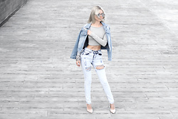 Krist Elle - Wholesale7 Ripped Denim Womens Jacket, Wholesale7 Stretch High Waisted Jeans, Wholesale7 Beige Pumps Outfit, Zerouv Mirrored Lenses Sunglasses - How to wear denim look 2016