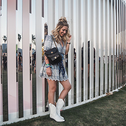 Iam Chouquette - Loveshackfancy Top, Loveshackfancy Skirt, Chanel Backpack, Cowgirl Boots, Asos Bandana - Coachella