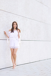 Stefanie - Zara Off Shoulder Blouse, Asos Lace Shorts, New Look White Heeled Sandals - All white everything