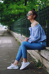 Andreea Birsan - Christian Dior So Real Sunglasses, Sheinside Striped Off Shoulder Blouse, Mango Denim Pants, Adidas Stan Smith Sneakers - Summer outfit idea for those that hate shorts II
