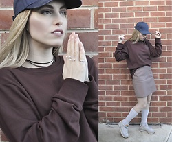 Apollinaria J - Denim Cap, Cotton Oversized Sweatshirt, New Look Leather Skirt, American Apparel Socks, Reebok Sneakers, Monki Pearl Rings, Asos Tassel Choker - Going Street