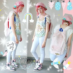 Candy Thorne - Swimmer Heart Sneakers, Evangelion X Mmts Fluffy Cat Bag - Merpunk
