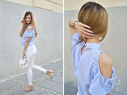 Angelika Rachocka - Zara Shirt - Blue shirt and white pants
