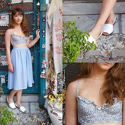 Charli E. - Boux Avenue Bralet, Primark Blue Skirt, Jones White Sandals, Asos Silver Choker - Floating Away