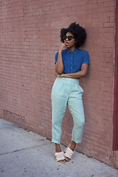 Monroe Steele - Thrifted Denim Crop Top, American Apparel Linen Pants, Tibi Fringe Mules - Why I went Natural