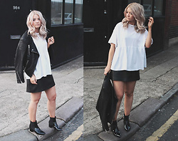 Joey Taylor - Zara White Tee, Whistles Leather A Line Skirt, Asos Black Ankle Boots - BASIC WHITE TEE