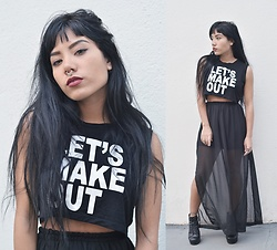 Amanda Ikoma - Lema Cropped Top, Holy Shit Maxi Skirt, Jeffrey Campbell Shoes Lita Boots, Purple Dream Fake Septum Piercing - Let's make out