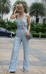 Katya Shay - Guess Jumpsuit, Tee&Ing Sunglasses - Denim Jumpsuit