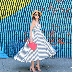 Jenn Lake - Milly Breton Striped Dress, Ray Ban Aviator Sunglasses, Hinge Straw Boater Hat, Steve Madden Nude Patent Carrson Sandals, Rebecca Minkoff Red Clutch - Stripes on Stripes in Brooklyn