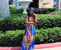 Brittany B - Aloha Paris Lovad Turban, Aloha Paris Tribe Long Draw String Maxi Dress - Resort Wear Glamour in Turks & Caicos