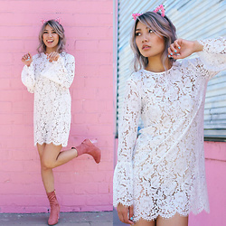 Catherine pham - Socalbysteph Floral Cat Ear Headband, Lola Shoetique Pink Suede Booties, Na Kd Trumpet Sleeve Lace Dress - Pussy on fleek