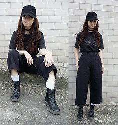 Mon M - Reserved T Shirt, Homemade Culottes, Deichmann Military Boots - Black on black