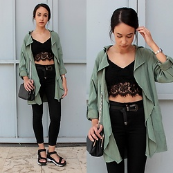 Esther L. - Newdress Flowing Trench Coat, Dresslink Lace Top, Primark Belt, Topshop High Waisted Trousers, Pull & Bear Sporty Sandals, Zara Chain Bag - THE LACE TOP