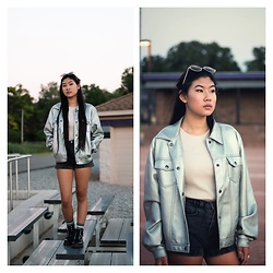 Jenny Ruan - American Apparel Shorts, Dr. Martens Boots, Thrifted Jacket, Thrifted Shirt, Urban Outfitters Glasses - Back alley