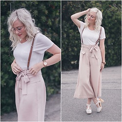 Kari Jane Ballesteros - Stylewe Blush Pink Culottes, Styles For Less Whit Pocket Tee, Jord Wooden Watch, Polette Pink Glasses, Swedish Hasbeens White Shoes - STYLEWE - Culottes