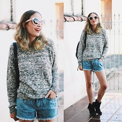 Glena Martins - Red'o Jeans Sweater, Red'o Jeans Shorts, Zerouv Sunnies - HI WORLD