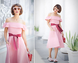 Galant-Girl Ellena - Asos Off The Shoulder Dress - Pink Dress