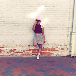 Niara Chanel - Beyonce Formation Tour Dad Hat, American Apparel Crop Top, Forever 21 Leather Skirt, Zara Sneakers - Typical