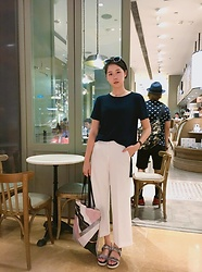 Sherry Chen - Zara Irregular Sweater, Zara White Suit Pants, Snupped Canvas Bag - Tea Time