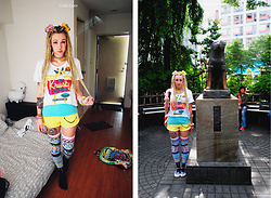Lunie Chan - 6%Dokidoki Gliterry Bows, Offbrand Rainbow Smiley Chocket, Primark Krusty Tshirt, Zara Green Top, Primark Smiley Short, Acdc Rag Crazy Otk, Springfield Checked Sneakers, Offbrand Colored Peace Backpack - Colorful Krusty