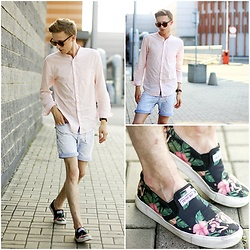 Adrian Kamiński - Bershka Shirt, Cropp Shoes, Pull & Bear Short, Daniel Wellington Watch, Zerouv Sunglasses - LIGHT PINK AND JEANS