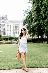 Merna Mariella - Topshop Lace Skirt, Zalando Top, Zara Heels - Baby blue lace skirt & lace up shoes