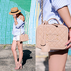 Jenn Lake - Topshop Blue Striped Off The Shoulder Top, Topshop White Denim Shorts, Chanel Filigree Vanity Case Bag, Hinge Straw Boater Hat, Steve Madden Skales Cage Sandals, Monica Vinader Fiji Chain Bracelet - Blue Striped Off the Shoulder Top
