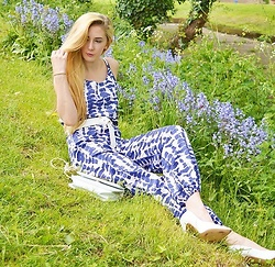 Isobel Thomas - Sammydress Jumpsuit, Primark Court Shoes, Dresslink Bag, New Look Belt - Bluebell Meadow