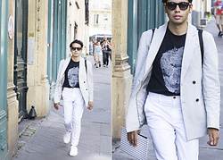 Ronan Summers - Alexander Mcqueen Skull T Shirt, Banana Republic Striped Double Breasted Blazer, Gucci Havana Sunglasses, Kurt Geiger Bowden Leather Sneakers - Paris Fashion Week Day 4 The Skull