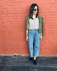 Tiffany - Current/Elliott High Waist Denim, Zara Penny Loafers - It's all found in L.A