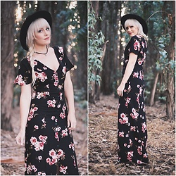 Kari Jane Ballesteros - Tillys Floral Maxi Dress, Tillys Choker, H&M Black Hat - Dark Floral