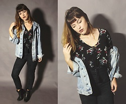 Bárbara Kohls - Sheinside Floral Blouse, Oversized Denim Jacket, Diy Suede High Waisted Pants - Floral