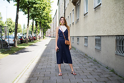 Alix M - Zara Overall, Tory Burch Saddle Bag, Natura Bohoo Sandals - Blue Culotte