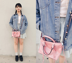 Emily Zhou - Topshop Moto Denim Jacket, Muji Stripe Tee, Rebecca Minkoff Distressed Micro Moto Satchel, Earth Music & Ecology Grey Skirt, Uniqlo Grey Stripe Socks, Topshop Black Lace Up Shoe - PINK!! PINK!! PINK!!
