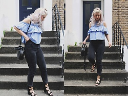 Joey Taylor - Zara Cold Shoulder Top, Topshop Black Mom Jeans, Zara Lace Up Sandals, Alexander Wang Handbag - COLD SHOULDER TOP