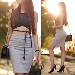 Ariadna Majewska - Crop Top, Midi Skirt - Grey