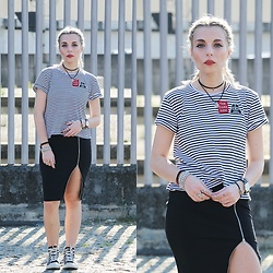Cátia Gonçalves - Style Moi Black Skirt, Pull & Bear T Shirt, Converse All Star - Try not. Do… or do not. There is no try