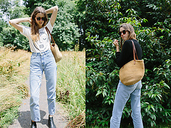 Katie Bauer - Levi's® Jeans, Vagabond Boots, Older Brother T Shirt, Thrifted Bag - Jeanie's Car