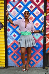 Nia Groce - Forever 21 Lilac Blouse With Pleated Back, H&M My Favorite Skirt, Zara Metallic Sandals With Block Heel - Colorful and Carefree