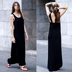 Jacky -  - Black Maxi Dress and a Touch of Red