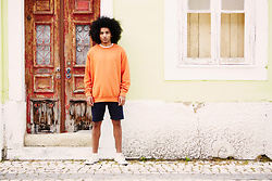 The Idle Man - The Idle Man Perfect Orange Sweatshirt, The Idle Man Navy Swim Shorts, Superga White Mid Cut Plimsolls - Orange Sweatshirt Style